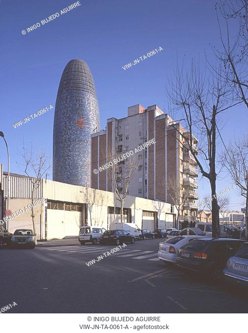 TORRE AGBAR, BARCELONA, SPAIN, JEAN NOUVEL, EXTERIOR, OVERVIEW FROM THE POBLE NOU