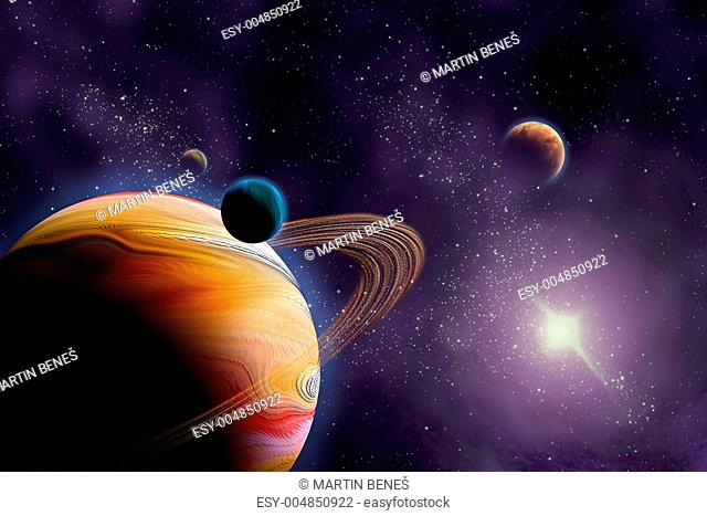 Planets in deep dark space. Abstract illustration of universe