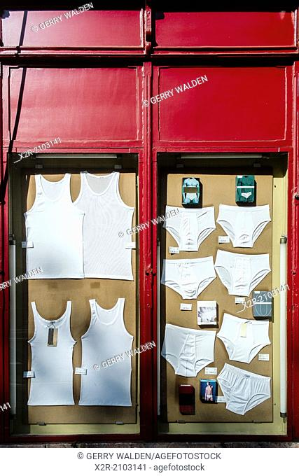 Mens underwear on displey in a shop window (Pendra da Sant Antoni, Barcelona)