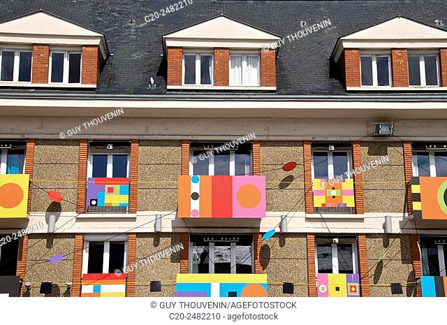 Colored facade, Les Bains Hotel, Normandy, France