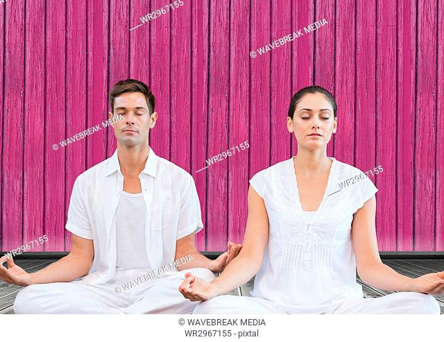 fitness yoga couple with pink wood background