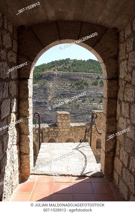 Entering the main hall of the castle of Alcala del Jucar, Albacete, Castilla La Mancha, Spain