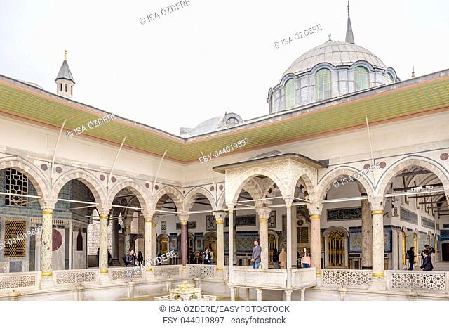 Unidentified People visit Iftar Pavilion, also known as Iftar Kiosk or Iftar bower in Topkapi Palace in Istanbul,Turkey. 11 April 2018