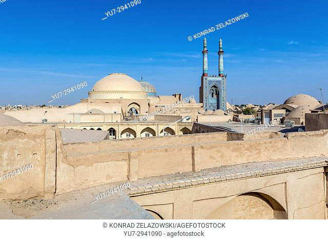 800-year old grand, congregational Jameh Mosque of Yazd city in Iran