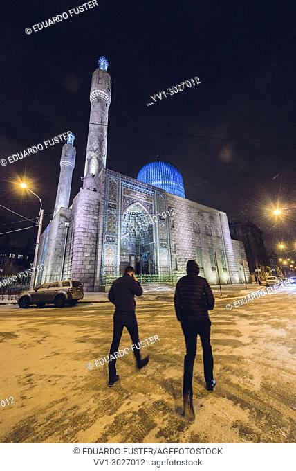 St. Petersburg, Russia - July 03, 2012: Cathedral mosque, 1909-1920, architect N. V. Vasilyev, unidentified people on the street