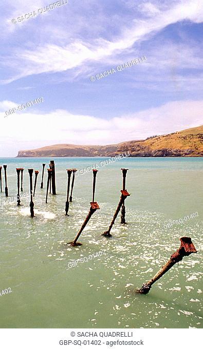 South Island, Bnak's Peninsula, Abandoned Pier, New Zealand