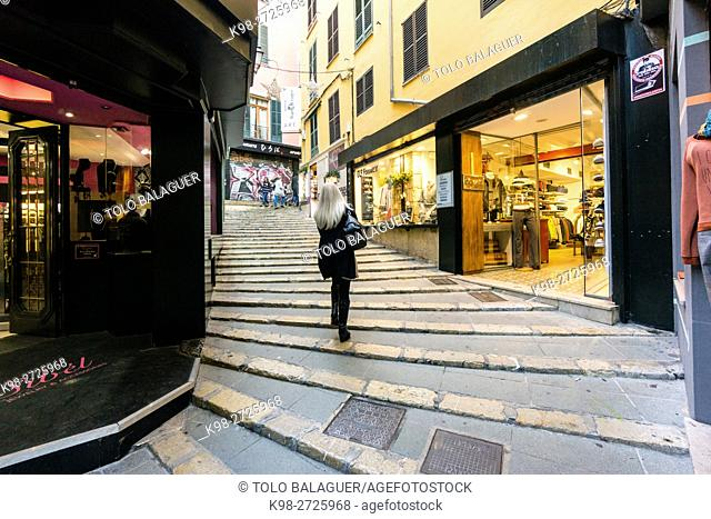 Shopping street, Pas d'En Quint, Palma, Majorca, Balearic Islands, Spain