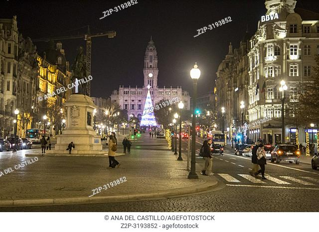 Christmas time Praca da Liberdade by night is the town hall square in Oporto on January 6, 2017 Portugal