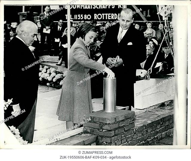 Jun. 06, 1955 - Princess Margret lays foundation stone : Photo shows Princess Margret of Holland, seen as she laid the foundation stone of the new building of...