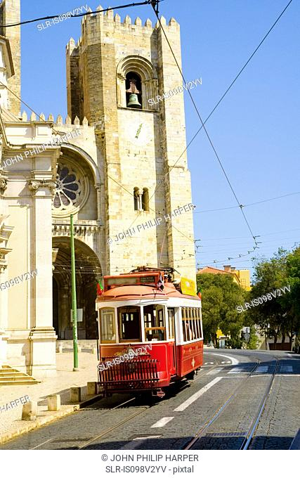 Tram, Se Cathedral, Lisbon, Portugal
