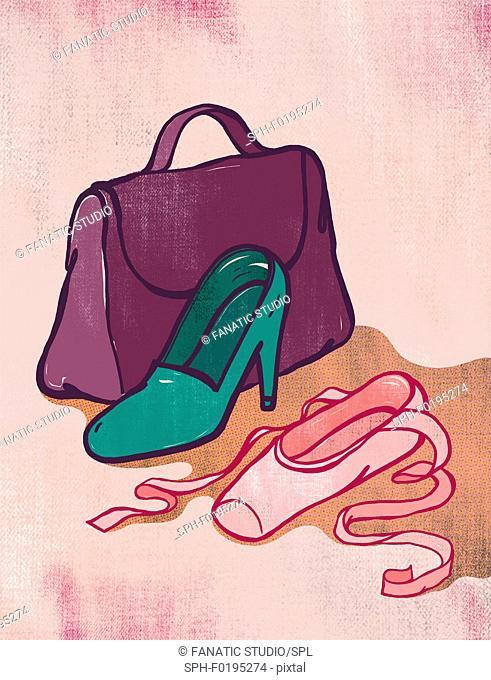 Illustration of high heel and ballet shoe