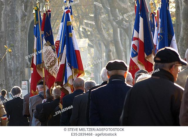 Elderly Veterans of North African wars march together to remember the fallen