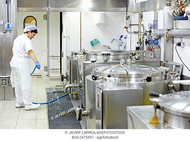 Cook preparing food, Hospital meal preparation, Kitchen, Hospital Donostia, San Sebastian, Gipuzkoa, Basque Country, Spain