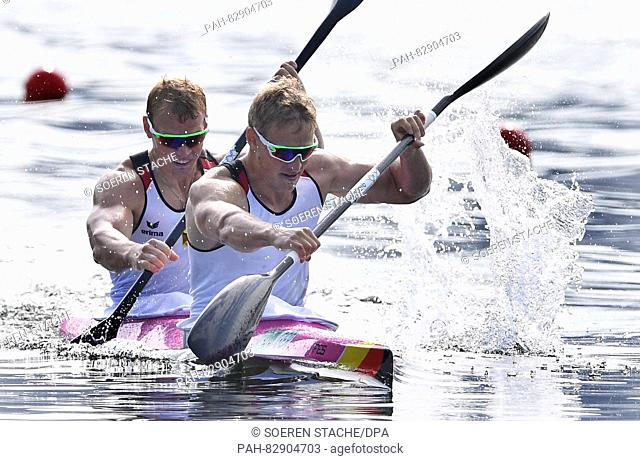 Max Rendschmidt (R) and Marcus Gross of Germany in action during the Men's Kayak Double 1000m final of the Canoe Sprint events of the Rio 2016 Olympic Games at...