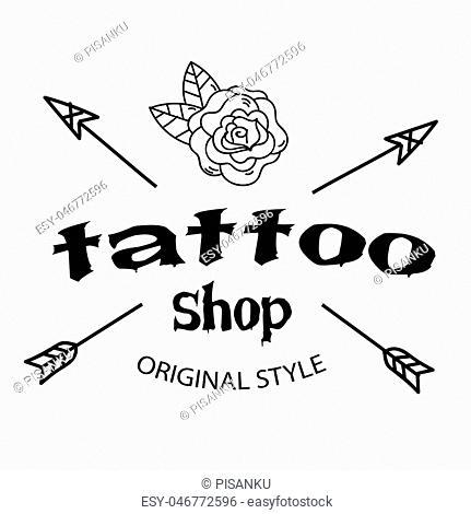 Tattoo Shop Arrow Flower Background Vector Image