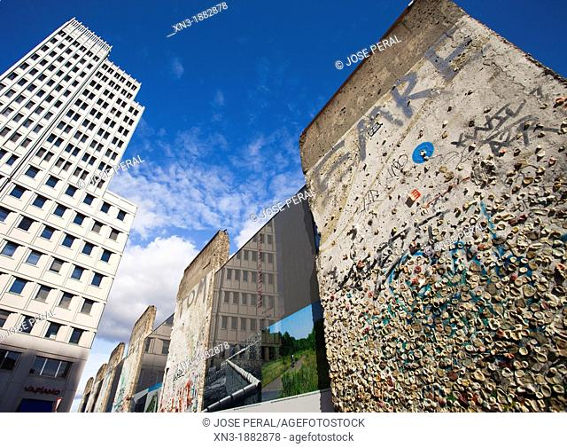 People have been sticking gum on the wall, Remains of the former Berlin Wall, Potsdamer Platz, Berlin, Germany