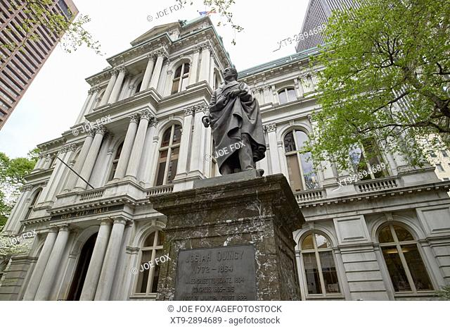 statue of josiah quincy iii in the grounds of the old city hall building Boston USA