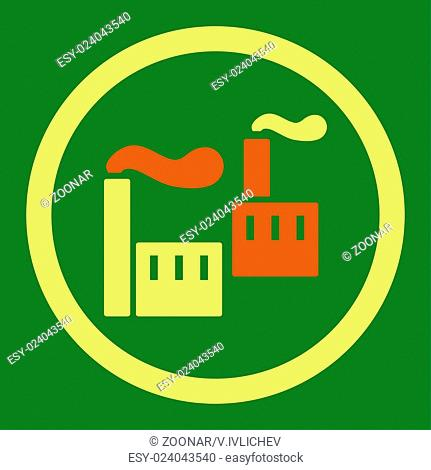 Industry flat orange and yellow colors rounded vector icon