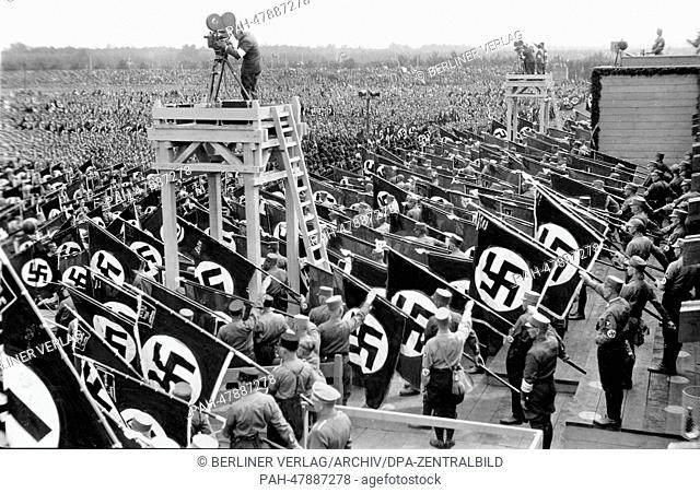 Nuremberg Rally 1933 in Nuremberg, Germany - Line-up of members of the SA (Sturmabteilung) at the Nazi party rally grounds