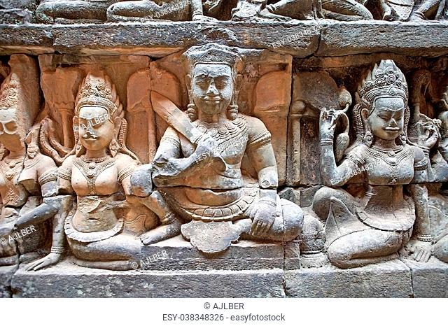 Reliefs at the Terrace of the Leper King, Angkor Thom, Angkor, Siem Reap, Cambodia. Terrace of the Leper King lies to the north of The Terrace of the Elephants