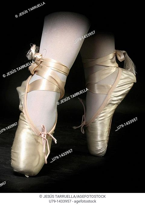 Closeup of the feet of a ballet dancer