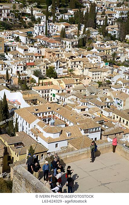 Aerial view of the Albayzín from Alhambra. Granada. Andalusia. Spain