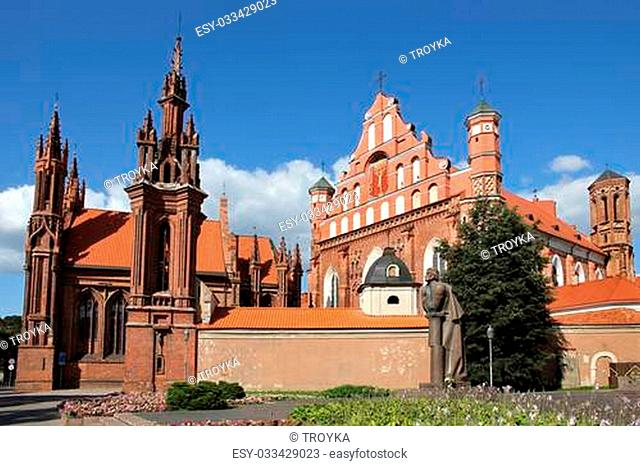 St. Anna's Church and Saints Francis and Bernardine Church and Adam Mitskievich statue in Vilnius, Lithuania