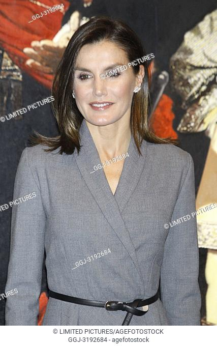 Queen Letizia of Spain attends the Opening the exhibition 'Poetics of democracy. Images of the Transition' at Reina Sofia Museum Auditorium on December 3