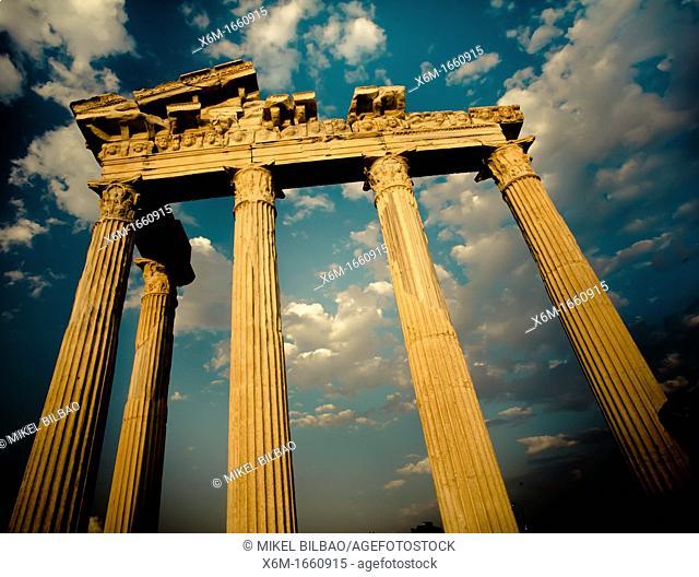 Temple of Apollo at sunset  Side ancient city  Province of Antalya  Mediterranean coast  Turkey