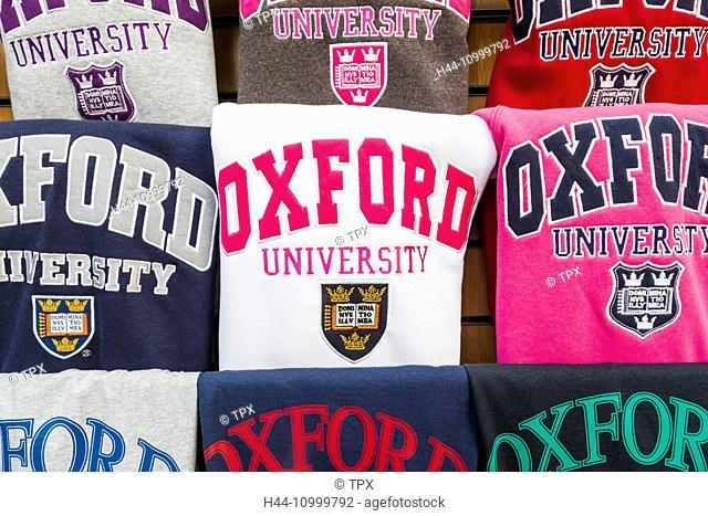 England, Oxfordshire, Oxford, Souvenir Oxford University Clothing Shop Window Display