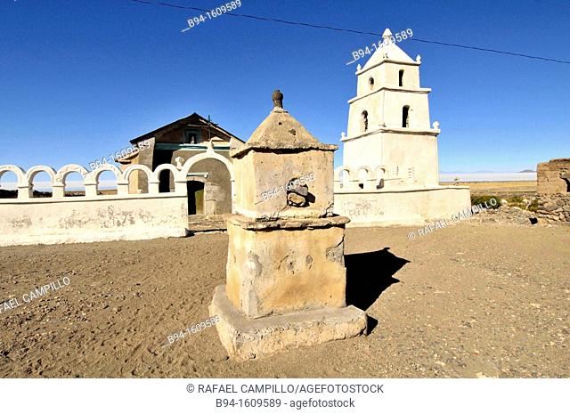 Church in the Salt hotel area. Salar de Uyuni, the world's largest salt flat at 10,582 square kilometers. Located in the Potosí and Oruro departments in...