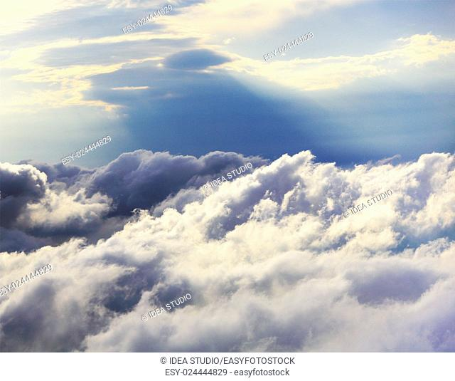 White clouds aerial view natural sky background