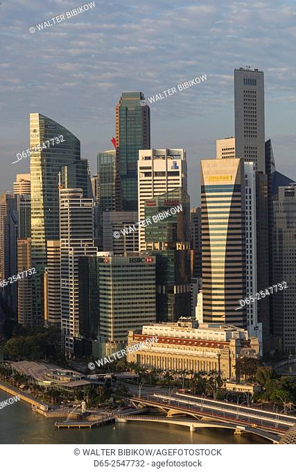 Singapore, elevated skyline view above Fullerton Hotel, dawn