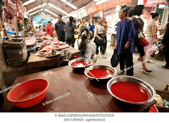 Blood Bowls, Market Rongjiang, Rongjiang, Guizhou, China
