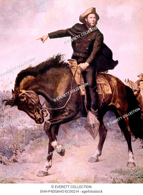 General Sam Houston at the Battle of San Jacinto in 1936, painting by S. Seymour Thomas