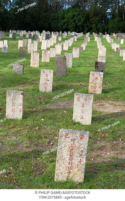 Chinese miners' graves at the Beechworth Cemetery in northeast Victoria, Australia