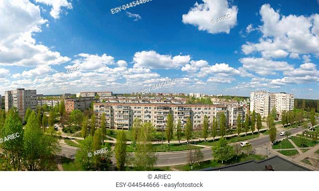 panoramic photo of the city in summer