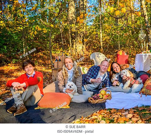 Portrait of mature couple with dogs, teenage and adult children relaxing on picnic blanket in woods