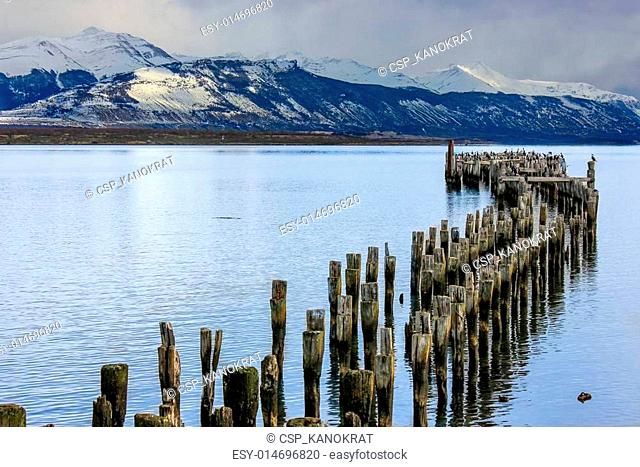 Wooden Pier Remnants in Chile