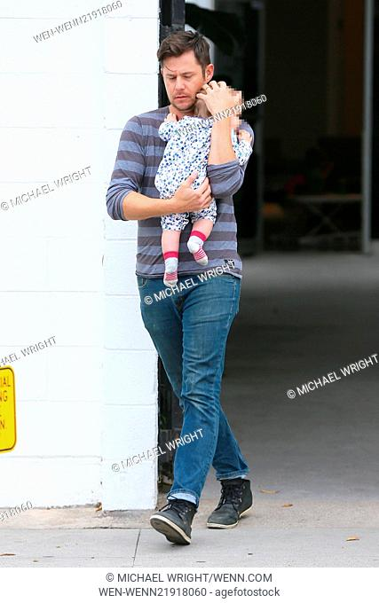 Emily Blunt seen leaving Striiike in Beverly Hills, one of the employees takes her daughter Hazel Krasinski to Emily's car before she leaves the salon