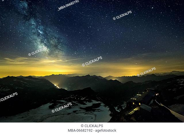 The starry sky and the Milky Way from the Gnifetti refuge in Monte Rosa Massif (Gressoney, Lys Valley; Aosta province, Aosta Valley, Italy, Europe)