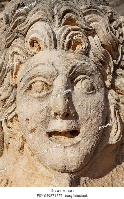 Stone mask in ancient lycian necropolis Mira