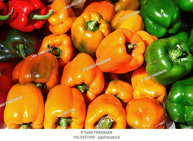 Colourful bell peppers at a country market in Unionville, Ontario, Canada. - UNIONVILLE, ONTARIO, Canada, 11/10/2015