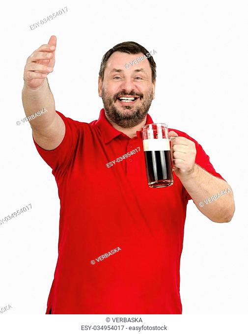 Bearded man with dark beer in hand calling friends