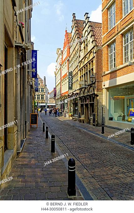 Street view, house line, historically, Ghent Belgium