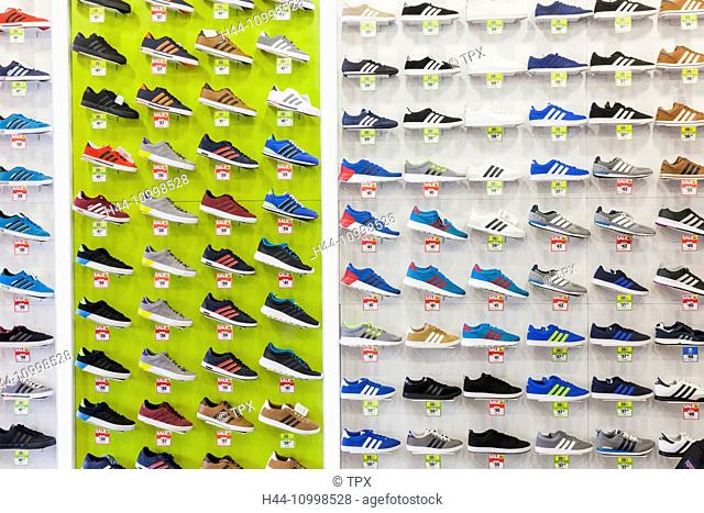 England, London, Piccadilly, Lilywhites Store, Display of Trainers