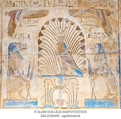 UNESCO World Heritage, Thebes in Egypt, Karnak site, ptolemaic temple of Opet. Horus as a hawk stands on a Sema-Tawy (union of the 2 lands)