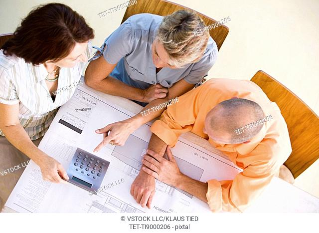 Couple in meeting at home with consultant