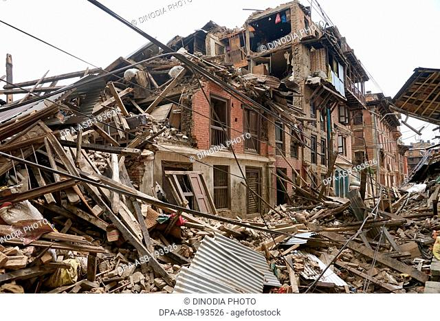 Residential building collapsed, earthquake, kathmandu, nepal, asia