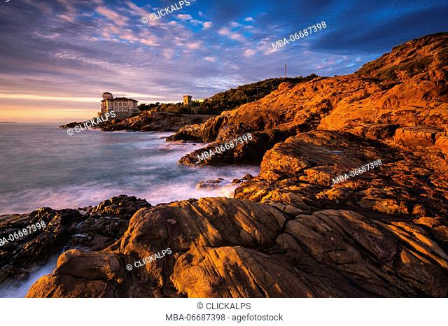 Europe, Italy, Boccale castle at Sunset, province of Livorno, Italy